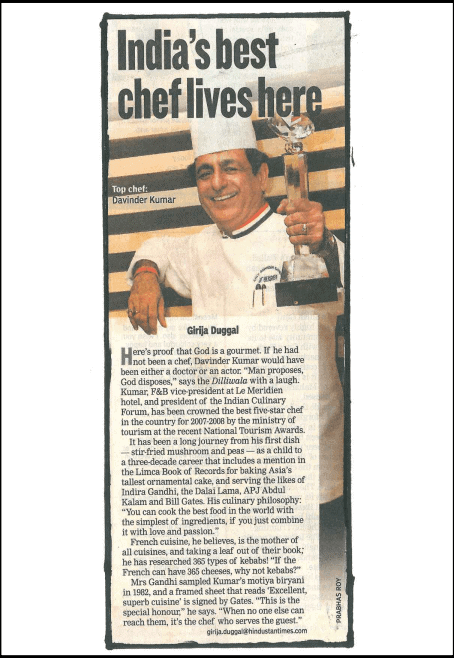 """Hindustan Times - """"India's top Chef lives here"""""""